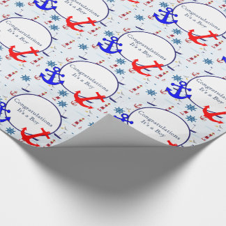Nautical baby boy shower wrapping paper