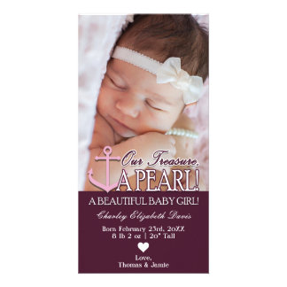 Nautical Baby Girl Birth Announcement with Photo Card