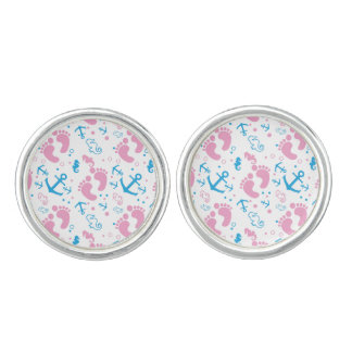 Nautical baby girl custom background color cufflinks