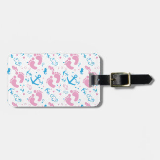 Nautical baby girl custom background color luggage tag