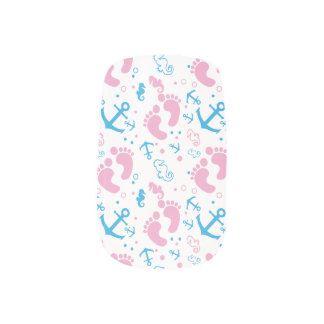 Nautical baby girl custom background color minx nail art
