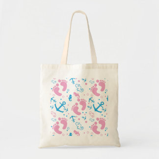 Nautical baby girl custom background color tote bag
