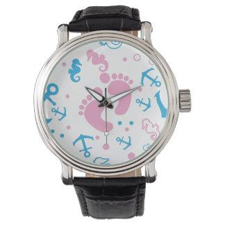 Nautical baby girl custom background color watch
