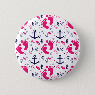 Nautical baby girl pink, navy blue 2 inch round button
