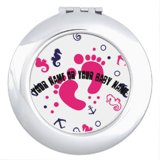 Nautical baby girl pink, navy blue compact mirrors