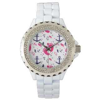 Nautical baby girl pink, navy blue watch