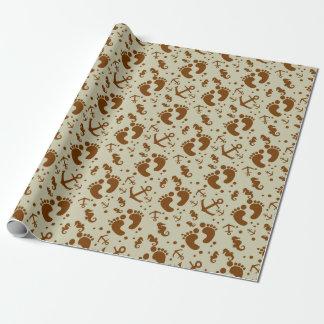Nautical baby khaki pattern wrapping paper