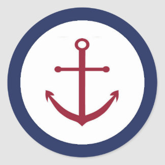 Nautical Baby Shower Anchor Envelope Seal Round Sticker
