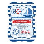 "Nautical Baby Shower; Blue & White Stripes 5"" X 7"" Invitation Card"