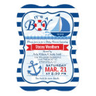 Nautical Baby Shower; Blue & White Stripes Card