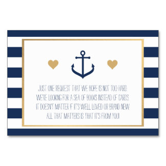 Nautical Baby Shower Book Request Card - Anchor