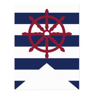 Nautical Baby Shower Captain's Wheel Bunting Flag Postcard