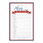 Nautical Baby Shower Game - Baby Word Scramble Customized Stationery