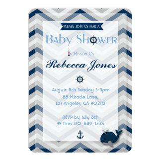 Nautical Baby Shower Invitation Boy Blue Chevron