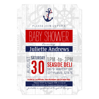 Nautical Baby Shower Invitation, Boy Blue Red Ahoy Card