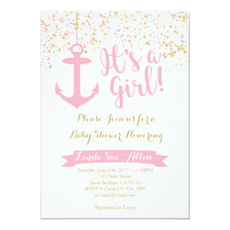 Nautical Baby Shower Invitation- Pink and Gold Card