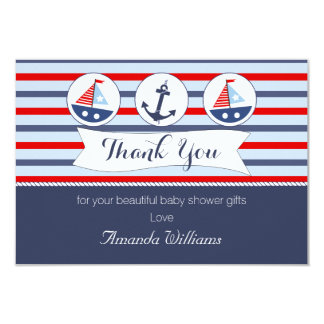 """Nautical Baby Shower Thank You Card 3.5"""" X 5"""" Invitation Card"""