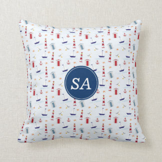 Nautical Back to School Dorm Essentials Throw Pillow