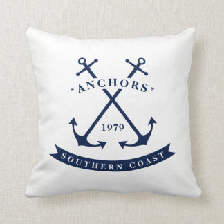 Nautical Badge Anchor Throw Pillow