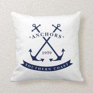 Nautical Badge Anchor Throw Pillow