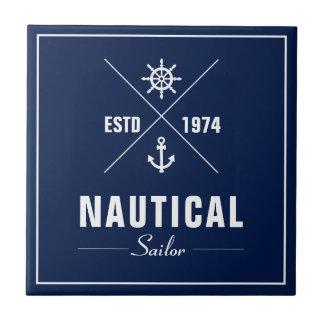Nautical Badge with Anchor - Ceramic Tile