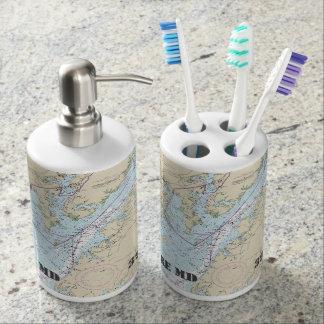 Nautical Baltimore Latitude & Longitude Soap Dispenser And Toothbrush Holder