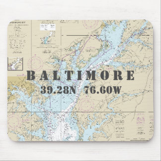Nautical Baltimore Maryland Latitude Longitude Mouse Pad