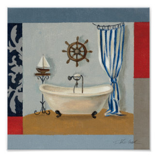 Nautical Bathroom Poster