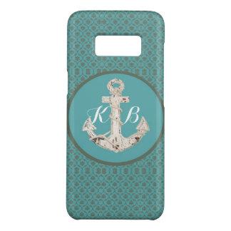 nautical beach coastal chic teal damask anchor Case-Mate samsung galaxy s8 case