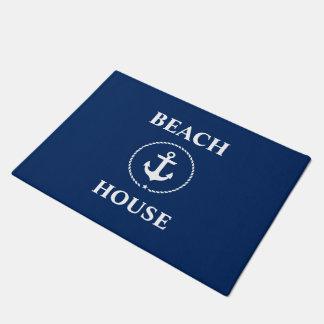 Nautical Beach House Anchor Navy Blue Doormat
