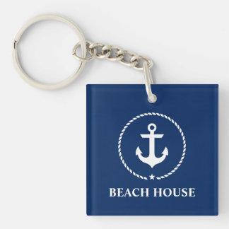 Nautical Beach House Anchor Rope Navy Blue Keychain