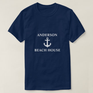 Nautical Beach House Family Name Anchor Blue T-Shirt