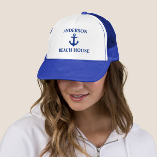 Nautical Beach House Family Name Anchor Blue Trucker Hat