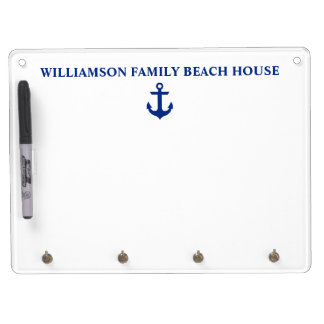 Nautical Beach House Family Name Anchor Dry Erase Board With Keychain Holder