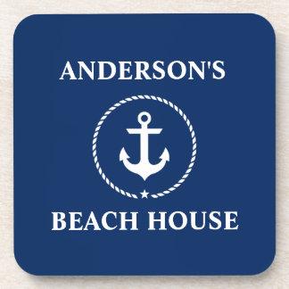 Nautical Beach House Family Name Anchor Navy Blue Coaster