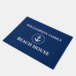 Nautical Beach House Family Name Anchor Navy Blue Doormat