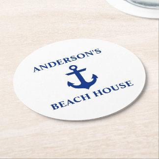 Nautical Beach House Family Name Anchor Round Paper Coaster