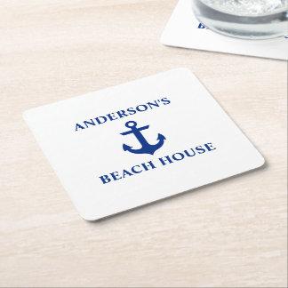 Nautical Beach House Family Name Anchor Square Paper Coaster