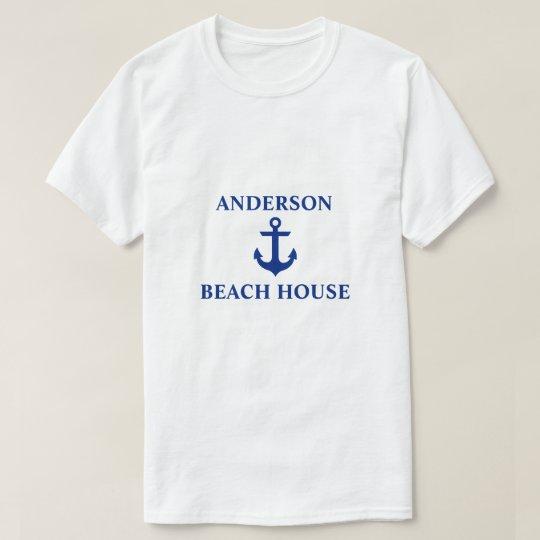 Nautical Beach House Family Name Anchor T-Shirt