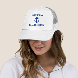 Nautical Beach House Family Name Anchor White Trucker Hat
