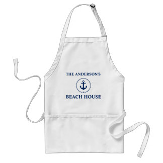 Nautical Beach House Family Name Blue Anchor Standard Apron