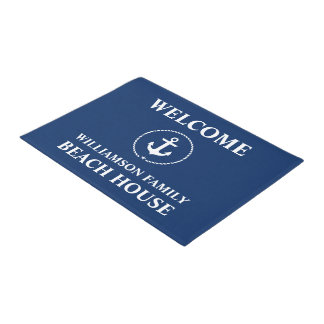 Nautical Beach House Family Name Blue Welcome Doormat