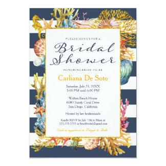 Nautical Beach, Navy Gold Glitter - Bridal Shower Card