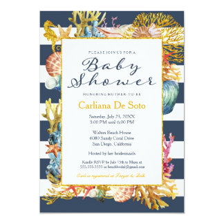 Nautical Beach Ocean / Sea Baby Shower Invitation