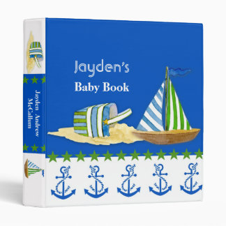 Nautical Beach Sail Boat Toys Typography Style 3 Ring Binder