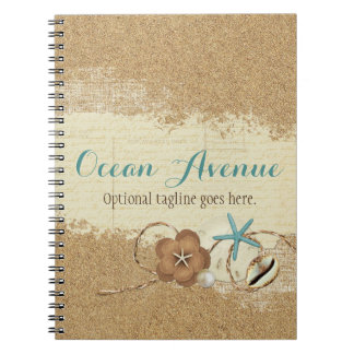 Nautical Beach Seashells & Sand Ocean Boutique Notebooks