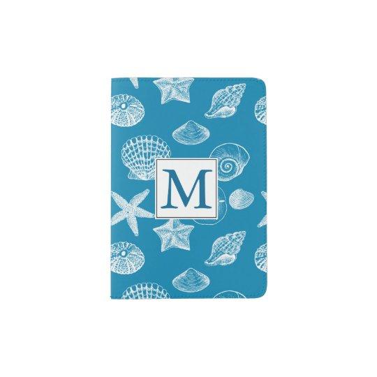 Nautical Beach Shells Aqua White Monogram Passport Holder
