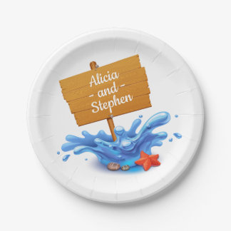 Nautical Beach Sign Waves Blue  Wedding Party Paper Plate