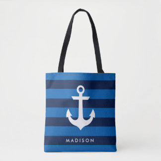 Nautical Beach Stripes Name Tote Bag