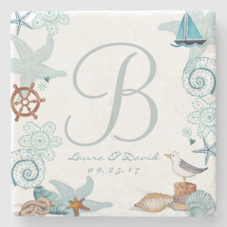 Nautical Beach Wedding   Custom Marble Coaster
